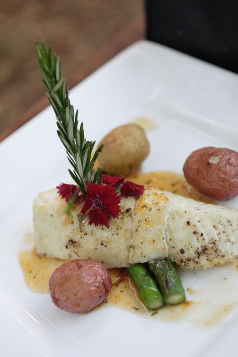 Fire Roasted Halibut w/ Roasted Baby Potatoes & California Asparagus